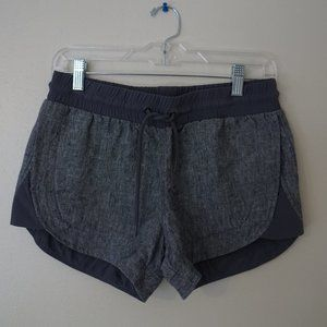 gray Athleta linen tie shorts with stretch